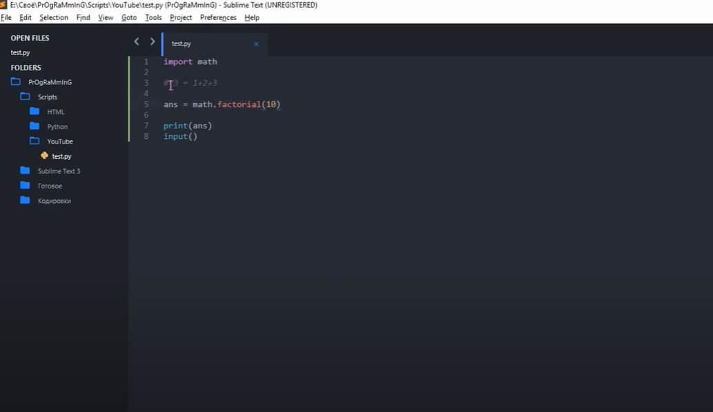 На фото изображен программный код в Sublime Text.