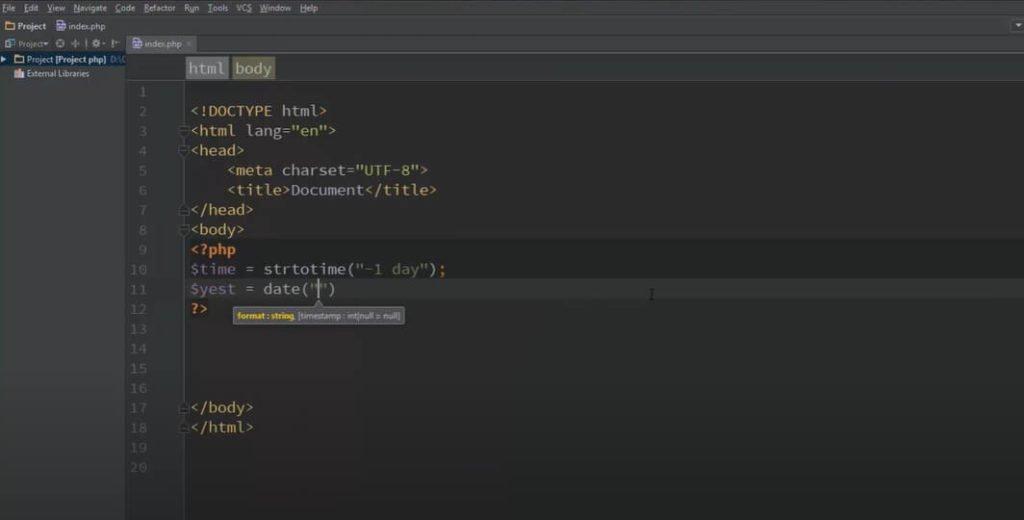 На фото изображен программный код в phpStorm.