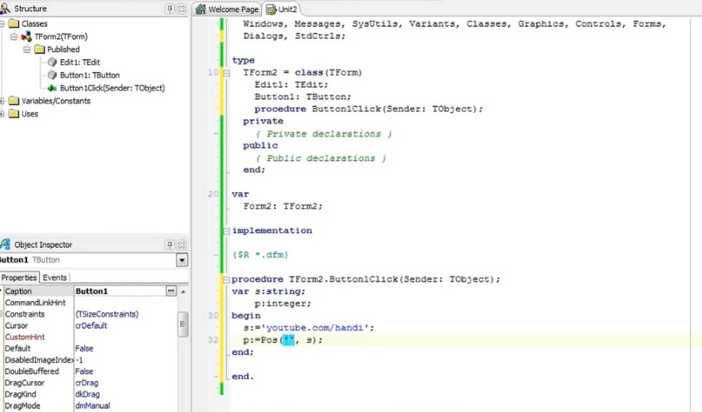 На фото изображено окно программы Delphi XE.